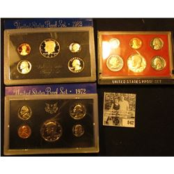 1972 S, 1981 S (no box) U.S. Proof Set & 1983 S U.S. Proof Set with original box of issue.