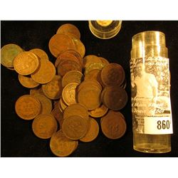 Roll of (50) Old Indian Head Cents in a plastic tube.