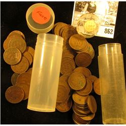 Roll of (65) Old Indian Head Cents in a plastic tubes.