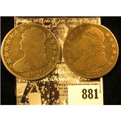1826 & 1830 U.S. Capped Bust Half Dollars, Good to VG.