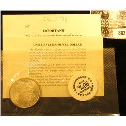 "1878 CC Morgan Silver Dollar in Original U.S. Government ""General Service Administration"" Cellophane"
