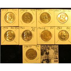 1948 D Unc, 51 D AU, 52 D Unc, 55 P BU, 56 P BU, 60 P BU, 62 D BU, 63 P BU, & D AU Franklin Half Dol