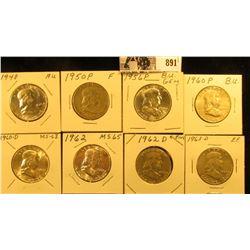 1948 P AU, 50 P Fine, 56 P BU, 60 P BU, D BU, 62 P BU, 62 D EF, & 63 D EF Franklin Half Dollars.