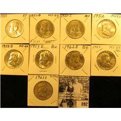 1951P, D, S, 52P, D, 53D, 62D, 63P & D Franklin Half Dollars. All EF-BU.