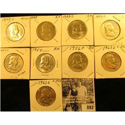 1948D, 49P, S, 52S, 53S, 54P, 56P, & (2) 63D Franklin Halves, most of which are EF-AU.