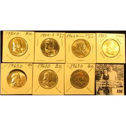 1954 D, S, 63 P, & (4) D  Franklin Half Dollars, all BU.