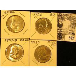 1955 P, 56 P, 57 D, & 63 D  Franklin Half Dollars, all BU.