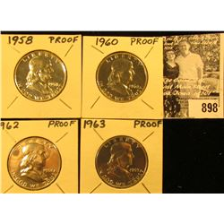 1958 P, 60 P, 62 P, & 63 P Franklin Half Dollars. All Gem Proofs.