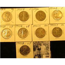 1929D VG, 35S VG, 36P VG, 40S Fine, 41P VF, D VF, S EF, 42P EF, & 42D EF Walking Liberty Half Dollar