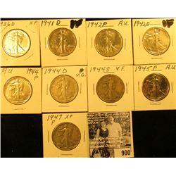 1936D EF, 41D VF, 42P EF, D VF, 44P EF, D Good, S Fine, 45P EF Polished, & 47P VG Walking Liberty Ha