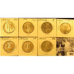 1941D AU, 42P AU, D EF, S EF, 43P EF, D EF, 45P AU Walking Liberty Half Dollars.