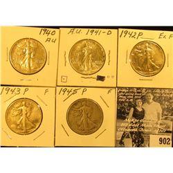 1940P EF, 41D AU, 42P EF, 43P Fine, & 45P Fine Walking Liberty Half Dollars.