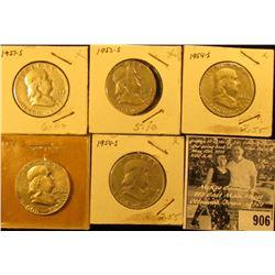 1951S, 53S, (3) 54S Franklin Half Dollars. VG-F.