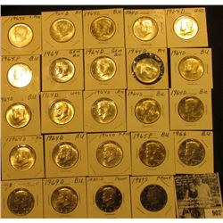 (2) 1964P, (16) 64D, 65P,  66P, 68S, 69D, 80S Proof, & 87S Proof Kennedy Half Dollars. All Grading E