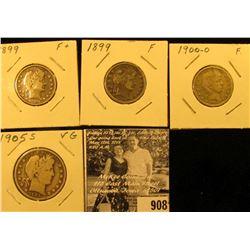 (2) 1899 P both Fine, & 1900 O Fine Barber Quarters; & 1905 S Barber Half Dollar, VG.