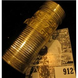 1958 P Original Gem BU Roll of Silver Washington Quarters in a plastic tube.