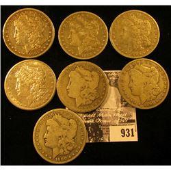 1882 S Fine, 87 O fine, 89 O fine, 90 S VF+, 91 P Good, 91 O VG, & 1900 O VG U.S. Morgan Silver Doll