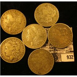 1881 S Fine, 82 P Fine, 91 O VG, 1900 O VF, 1901 O VG, & 01 S VG U.S. Morgan Silver Dollars.