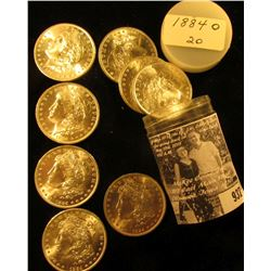 1884 O Solid Date Original Gem BU Roll of Morgan Silver Dollars in a plastic tube. (20 pcs.).