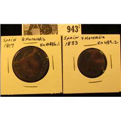 943 . Spain 1833 4 Maravedis; & 1817 8 Maravedis.