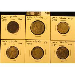 948 . Spain 2 Pesetas 1879 VG; 1893, 1900, 1903, & 1904 One Pesetas G-F; & 1878 5c, fine. (6 coins).