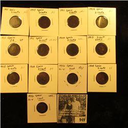 949 . (2) 1906 Spain 1c, AU & Unc; (3) 1904 2c, EF-Unc; (3) 1905 2c EF-AU; & (5) 1911 2c VF-Unc. (13