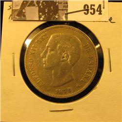 954 . 1876 DE-M Spain Silver Five Pesetas, Fine.