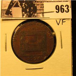 963 . 1794 Dublin Half Penny, VF.