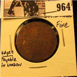 964 . 1795 Petersfield, Rule Britannia Half Penny Condor Token, Fine.