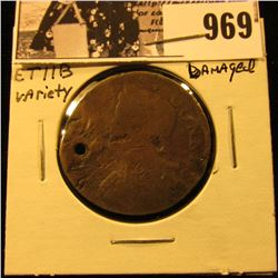 969 . (1787) Connecticut Half Penny, ETIIB variety, hole damaged.