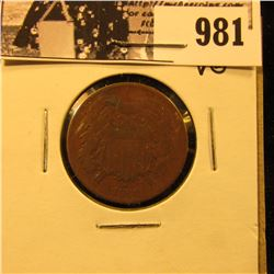 981 . 1868 Two-Cent Piece, VG.