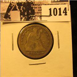 1014 . 1853 Arrows & Rays Seated Liberty Quarter, Fine.