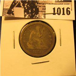 1016 . 1858 Seated Liberty Quarter, Fine/VG.