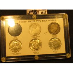 "1023 . ""United States Type Half Dollar"" Capital holder containing 1861 S Good; 1897 P VG, 1943 P EF-"