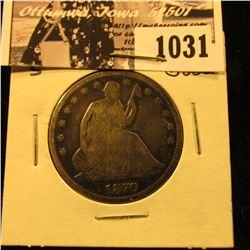 1031 . 1870 S U.S. Seated Liberty Half Dollar, Good.
