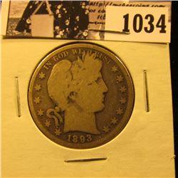 1034 . 1893 P U.S. Barber Half Dollar, Good.