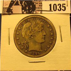 1035 . 1894 O U.S. Barber Half Dollar, VG10.
