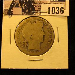 1036 . 1896 O U.S. Barber Half Dollar, AG/Fair.