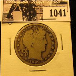 1041 . 1899 O U.S. Barber Half Dollar, VG.