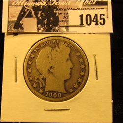 1045 . 1900 S U.S. Barber Half Dollar, Good.