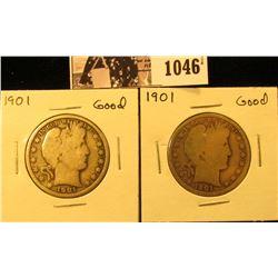 1046 . Pair of 1901 P U.S. Barber Half Dollar, Good.
