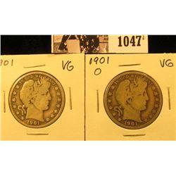 1047 . 1901 P & 1901 O U.S. Barber Half Dollars, VG.