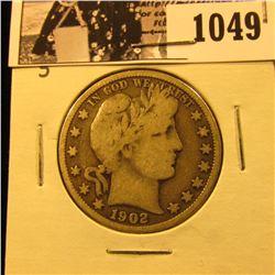 1049 . 1902 S U.S. Barber Half Dollar, VG.