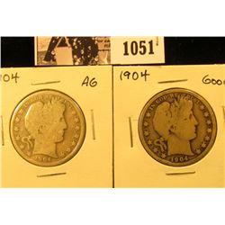 1051 . (2) 1904 P U.S. Barber Half Dollars, AG and Good.