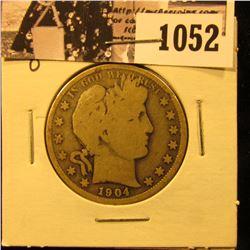 1052 . 1904 O U.S. Barber Half Dollars, Good.