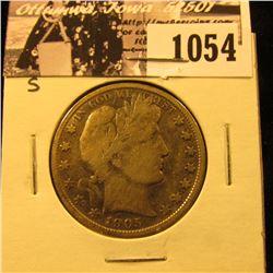 1054 . 1905 S U.S. Barber Half Dollar, Fine.