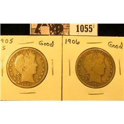 1055 . 1905 S & 1906 P U.S. Barber Half Dollar, Good.