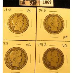 1069 . (4) 1912 P U.S. Barber Half Dollars. All Very Good.