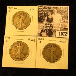 1072 . 1917 Reverse S VG, 18 S Fine, & 23 S Good U.S. Walking Liberty Half Dollars.