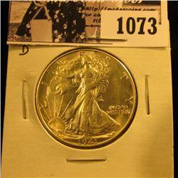 1073 . 1941 D Walking Liberty Half Dollar. Gem BU.